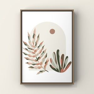 Mid century modern boho abstract wall art print